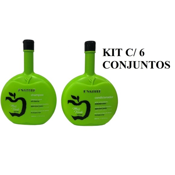 KIT 6PC SHAMPOO 300ML + 6PC CONDICIONADOR 300ML - EVAPPLE